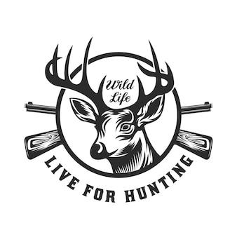 Distintivo emblema vintage caccia al cervo e avventura