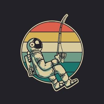 Design vintage astronauta pesca illustrazione vintage retrò