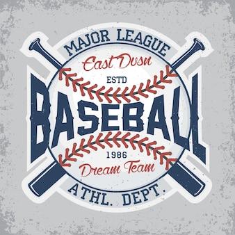 Design vintage, emblema di tipografia di baseball, design del logo sportivo