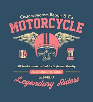 Motociclista di design vintage disegnato a mano. illustrazione della composizione.