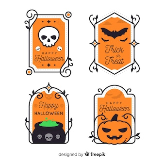 Collezione di etichette di halloween design vintage