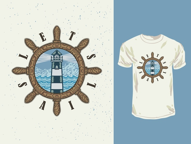 Il faro e il mare dal design vintage con un'illustrazione disegnata a mano