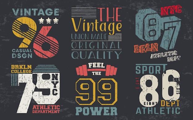 Stampa design vintage per timbro t-shirt, t-shirt applique, tipografia moda, badge, abbigliamento etichetta, jeans e abbigliamento casual. illustrazione vettoriale.