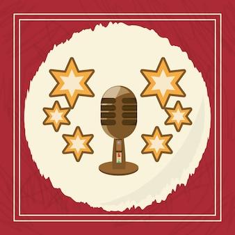 Design vintage del microfono retrò e stelle decorative intorno
