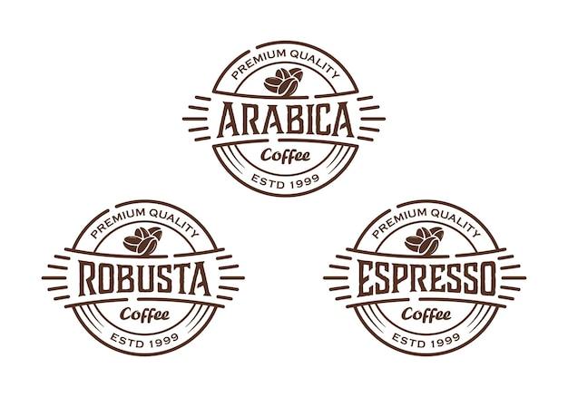 Tipi di caffè dal design vintage, modello di ispirazione per il design del logo del distintivo dell'etichetta del timbro