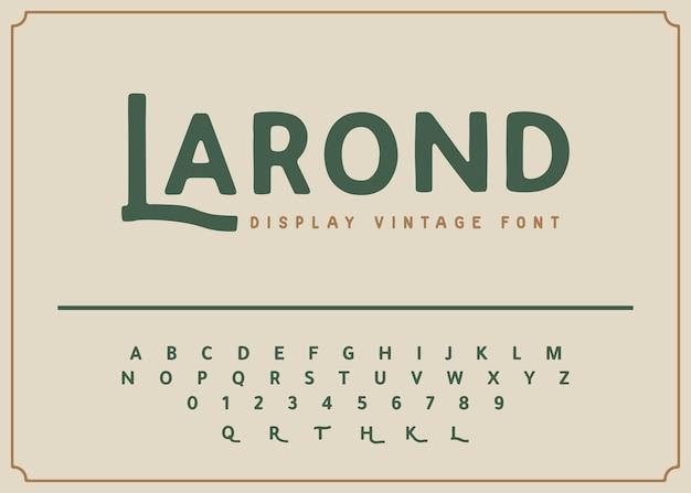 Alfabeto e numero di caratteri di visualizzazione vintage