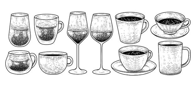 Illustrazione di vettore degli elementi di schizzo disegnati a mano della raccolta delle bevande e delle bevande dell'annata