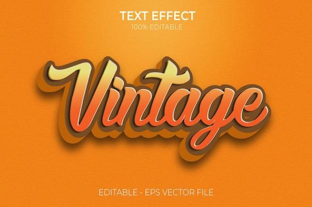 Vintage effetto testo modificabile design retrò vintage nuovo vettore premium in stile testo grassetto creativo 3d