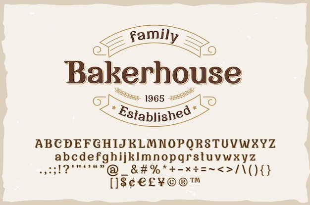Carattere serif elegante vintage con distintivo