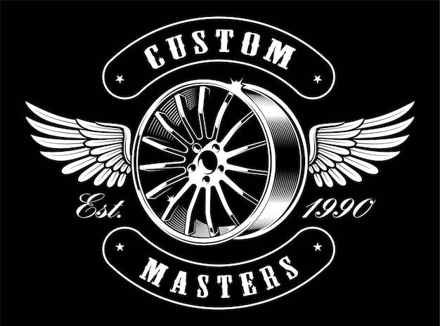 Emblema dell'annata del disco auto con ali su sfondo scuro. design per il servizio auto.