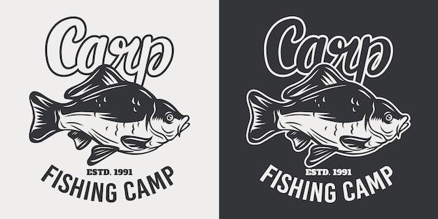 Retro illustrazione isolata del pesce della carpa dell'emblema d'annata su un bianco.