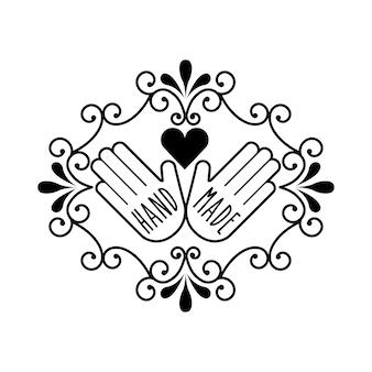 Emblema dell'annata con le mani e l'icona del cuore