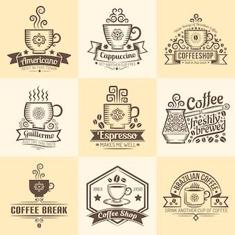 Emblemi vintage per caffè. loghi con una tazza di caffè in stile retrò.