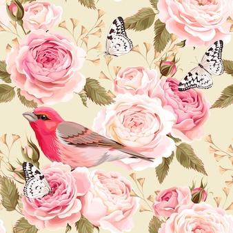 Fondo senza cuciture delle rose e degli uccelli inglesi d'annata