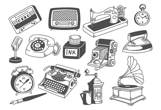 Illustrazione di arte linea collezione di attrezzature d'epoca