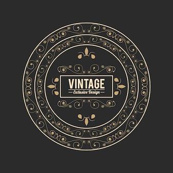 Adesivo floreale dorato di lusso esclusivo di design vintage