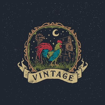 Illustrazione disegnata a mano d'annata del gallo e di gallina dell'azienda agricola