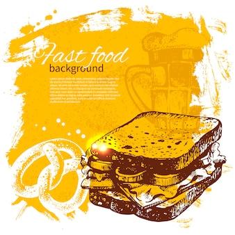 Sfondo vintage fast food. illustrazione disegnata a mano. progettazione del menu