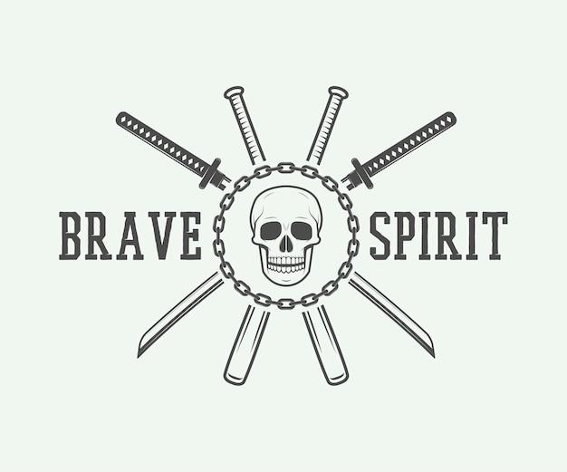 Logo vintage di combattimento o arti marziali