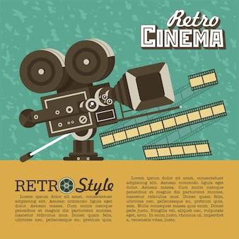 Macchina fotografica d'epoca. poster in stile vintage con posto per il testo. cinema retrò.