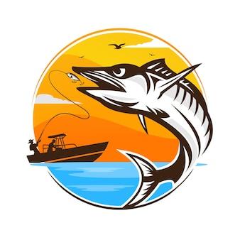 Design del logo vintage da pesca