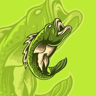 Logo di pesca vintage con lo stesso pesce sullo sfondo
