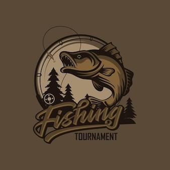 Modello di logo del torneo di pesca vintage isolato su colori intelligenti