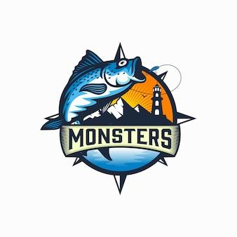 Modello di logo del torneo di pesca d'epoca isolato