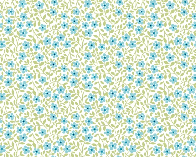 Sfondo floreale vintage. modello senza cuciture per stampe di design e moda. reticolo di fiori con piccoli fiori blu su sfondo bianco. stile ditsy.