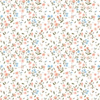 Sfondo floreale vintage. modello senza cuciture con piccoli fiori su uno sfondo bianco.