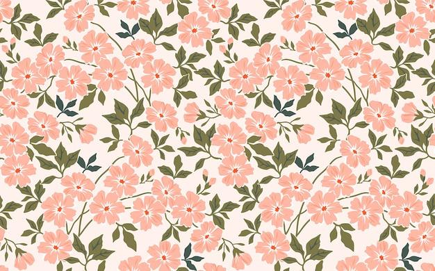 Sfondo floreale vintage. modello senza cuciture con piccoli fiori rosa su sfondo bianco.
