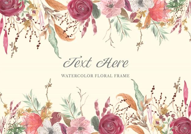 Sfondo acquerello cornice floreale vintage