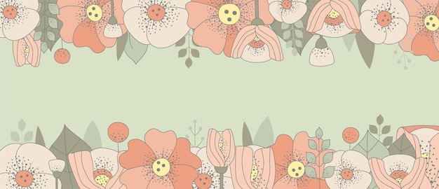 Cornice floreale vintage con posto per il testo