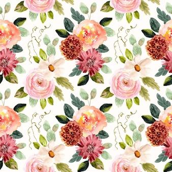 Reticolo senza giunte dell'acquerello del giardino floreale dell'annata