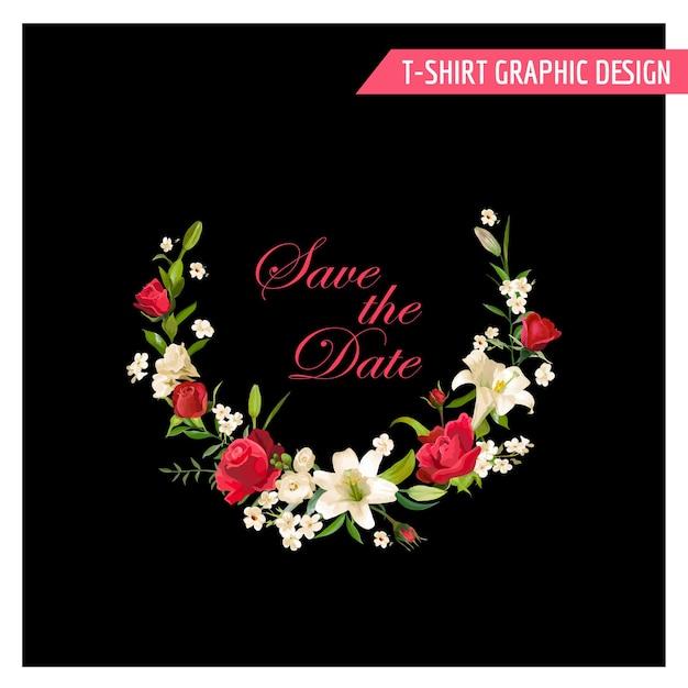 Design grafico floreale vintage. summer rose e fiori di giglio per t-shirt, moda