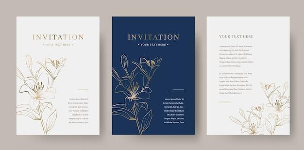 Modello di carta di invito di lusso floreale vintage