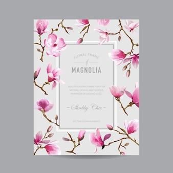 Carta di invito magnolia floreale vintage