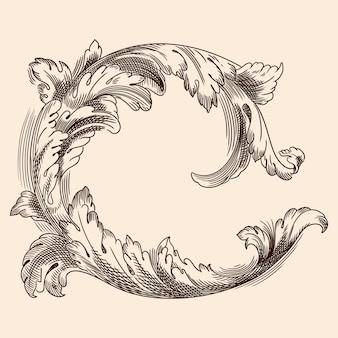 Ornamento floreale vintage nel vecchio stile classico per la stampa e il web design.