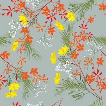 Fondo senza cuciture floreale vintage con delicati fiori di orchidea, foglie di palma, fiore di prato, botanico