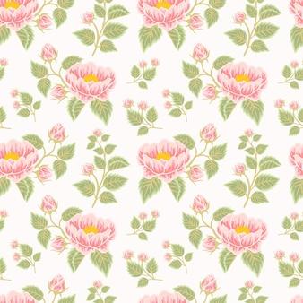 Motivo floreale vintage senza cuciture di fiori di peonia rosa e pesca e composizioni di rami di foglie