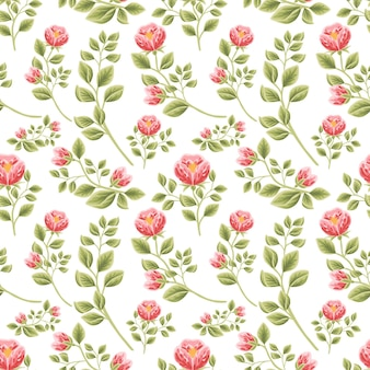 Vintage motivo floreale senza soluzione di continuità di boccioli di fiori di peonia rossa con disposizioni di rami di foglie leaf
