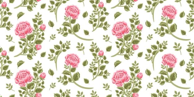 Motivo floreale vintage senza soluzione di continuità di bouquet di rose rosse, boccioli di fiori e composizioni di rami di foglie
