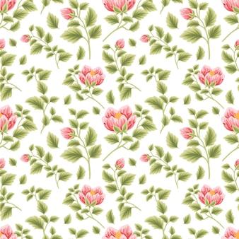 Motivo floreale vintage senza cuciture di boccioli di fiori di rosa rossa e peonia con disposizioni di rami di foglie