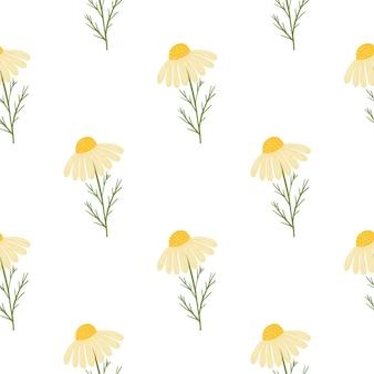 Motivo floreale vintage senza cuciture con stampa di fiori margherita gialla carina