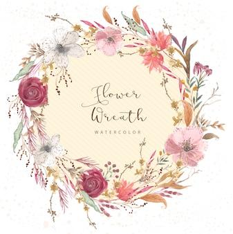 Corona dell'acquerello floreale vintage