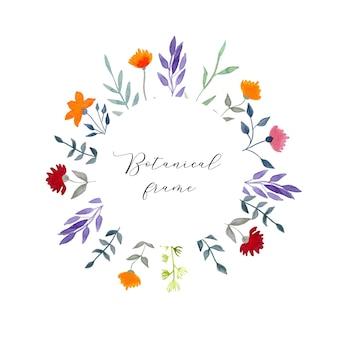 Corona floreale dell'acquerello dell'annata