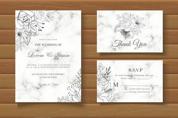 Modello di biglietto d'invito per matrimonio floreale vintage