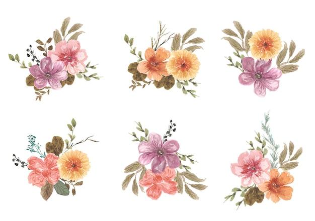 Collezione vintage floreale per brunch in wtercolor