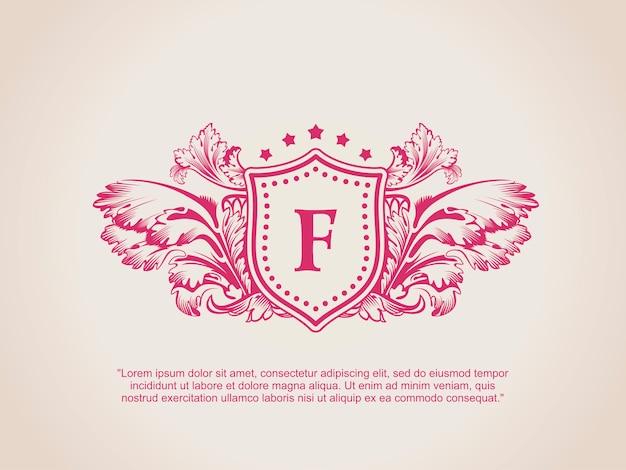 Logo calligrafico di fiorisce vintage