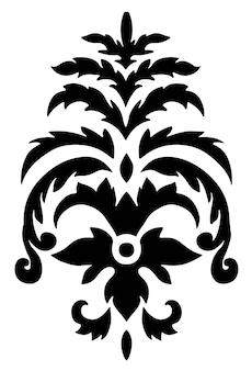 Design floreale vintage, ornamenti floreali damascati con foglie e fioriture. sagoma icona isolata di classici motivi marocchini e stampe etniche antiche o barocche. vettore in stile piatto illustrazione